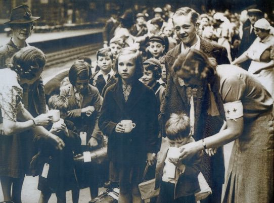 A Group of Evacuee Children at a Railway Station